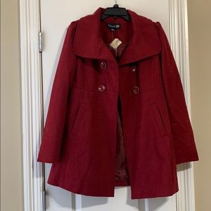 Forever 21 red pea coat